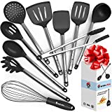 Cooking Silicone Utensils Set 10 - Best Nonstick Kitchen Cookware Utensil Sets - Large Hanging Spoons Spatula Set - Non Toxic Cook Gadget Kit Black