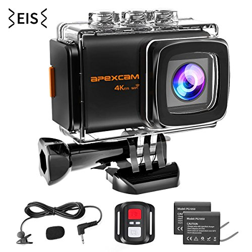 Apexcam 4K WiFi Action Camera,20MP EIS Waterproof 40M Sports Camera Ultra HD Underwater External Microphone 170°Wide-Angle 2.0''LCD 2.4G Remote 2 Batteries and Accessories kit