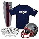 Franklin Sports Deluxe NFL-Style Youth Uniform - NFL Kids Helmet, Jersey, Pants, Chinstrap and Iron on Numbers Included - Football Costume for Boys and Girls, New England Patriots, Small
