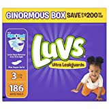 Luvs Ultra Leakguards Disposable Baby Diapers, Size 3, 186 Count (Packaging May Vary)
