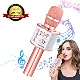 Ankuka Wireless Karaoke Microphones, 3 in 1 Multi-function Bluetooth Microphone Speaker for iPhone, Android, Portable Mic Player for KTV, Home, Party Singing (Rose Gold)