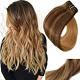 Clip In Hair Extensions Double Weft Brazilian Hair 120g 7pcs Medium Brown Fading to Golden Brown and Strawberry Blonde Highlighted Full Head Silky Straight 100% Human Hair Clip In Extensions 18 Inch