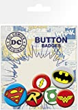 DC Comics Superhero Logos / Insignias - 6 Piece Button / Pin / Badge Set (Batman, Wonder Woman, The Green Lantern, Red Robin, Superman & Flash) by Merchandiseonline