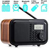Table Radio FM AM SW Radio Digital Wooden Radio with Alarm Clock、Rotary Dial、Bluetooth 4.2 Speaker、USB Port、TF Card Slot、Aux-in Jack、2×18650 Batteries