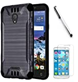 Luckiefind Case Compatible with Cricket Wave (2018), Slim Brush Texture Hybrid Defender Armor Protective Case Cover Accessory (Black)