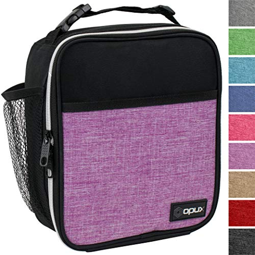 OPUX Premium Insulated Mini Lunch Bag for School | Work Lunch Box for Adult Men, Women | Soft Reusable Cooler Bag with Leakproof Liner | Compact Lunch Pail for Office (Heather Purple)