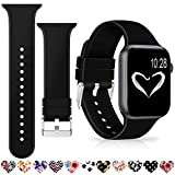 Merlion Compatible with Apple Watch Band Black 38mm 42mm 40mm 44mm for Women/Men,Silicone Fadeless Pattern Printed Replacement Floral Bands for iWatch Series 4/3/2/1
