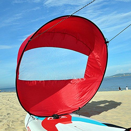 Liruis 42'' Foldable Kayak Downwind Wind Sail Kit Sup Paddle Board Instant Popup Easy Setup for Kayak Boat Sailboat Canoe Red