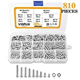VIGRUE 810Pcs M3 Screw Assortment Kit 304 Stainless Steel Phillips Pan Head Machine Screws Bolts Nuts Lock Flat Washers with Storage Box