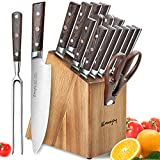 Knife Set, 16-Piece Kitchen Knife Set with Carving Fork, Precious Wengewood Handle for Chef Knife Set with Block, German Stainless Steel, Emojoy