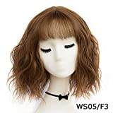 Sheep Store 43 Colors Synthetic Short Wavy Bob Wigs Womens Brown Black Blonde Natural Hair Wigs Female Heat Resistant Fiber,Ws 05 F3,14Inches