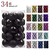 "KI Store 34ct Christmas Ball Ornaments Shatterproof Christmas Decorations Tree Balls Small for Holiday Wedding Party Decoration, Tree Ornaments Hooks Included 1.57"" (40mm Black)"