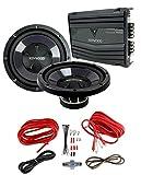 2) New Kenwood KFC-W112S 12' 1600W Car Subwoofers + KAC-5206 400W Amp + Amp Kit