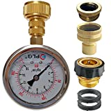 PLG Quick Connect/Disconnect Water Pressure Gauge Kit,2 in.Gauge w/Oil, 0 psi 230 psi,Push-Lock 3/4' GHT Hose Connector,3/4' to 1/2' Spigot Adapters