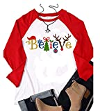 YUYUEYUE Believe Santa Christmas T-Shirt Women Long Sleeve Cute Funny Raglan Shirts Tops (Medium, White)