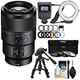 Sony Alpha E-Mount FE 90mm f/2.8 Macro G OSS Lens with Ring Light + Macro Tripod + 3 UV/CPL/ND8 Filters + Kit for A7, A7R, A7S Mark II Cameras