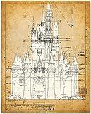 Cinderella's Castle - 11x14 Unframed Blueprint - Makes a Great Gift Under $15 for Disney Fans