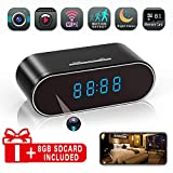 Hidden Spy Camera Alarm Clock, HD 1080P WiFi Nanny Cam,140°Angle Wireless IP Surveillance Camera with Night Vision/Motion Detection/Loop Recording for Indoor Home Office Security Monitoring