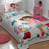 store_turco 100% Cotton Kids Dora in Garden Pique Bedding Duvet Cover Set Twin Size New Licensed/Dora Kids Pique Bedspread Bedding Set 3 PCS by DHL Express