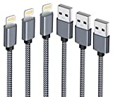 Verson SWEET-187 IPhone Long Nylon Braided Lightning Cable USB Charger Cord Compatible with IPhone 7/7Plus/6/6Plus/6S/6S Plus/5S/5C/5/Se/IPad/IPod - Grey - 3 Piece