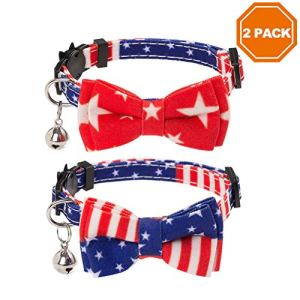 PAWCHIE American Flag Cat Collars Breakaway, 2 Pack Bow Tie Collar for Cats with Bell, Adjustable 4