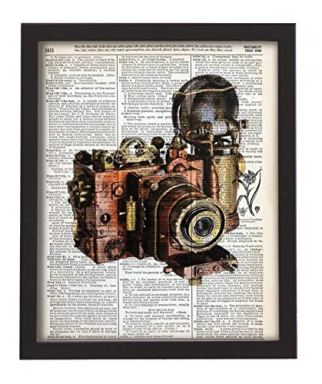 Steampunk-Camera-Upcycled-Vintage-Dictionary-Art-Print-8x10-UNFRAMED-from-our-Riot-Collection