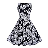iLOOSKR Halloween Women's Vintage Sleeveless O Neck Evening Printing Party Prom Swing Ball Gown Dress White