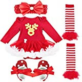 iEFiEL Baby Girls Newborn Infant Christmas Outfits Bodysuit Tutu Romper with Headband Xmas Deer 0-3 Months