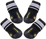 QUMY 4 Piece Dog Boots Waterproof Shoes for Large Dogs with Reflective Velcro Rugged Anti-Slip Sole, Black, 5