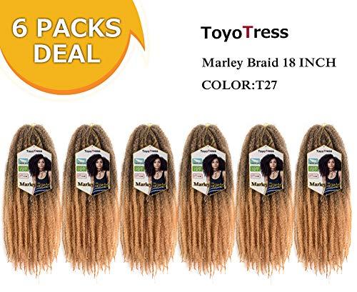 ToyoTress 6 Packs Ombre Marley Braid Hair 18 inch Afro Kinky Malrey Braiding Hair 100% Kanekalon Synthetic Marley Braids Crochet Braiding Hair (18', T27)