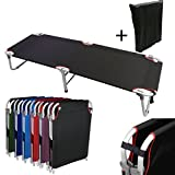 Magshion Portable Military Fold Up Camping Bed Cot with  Storage Bag, Black