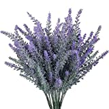 GTIDEA 4pcs Artificial Flowers Flocked Plastic Lavender Bundle Fake Plants Wedding Bridle Bouquet Indoor Outdoor Home Kitchen Office Table Centerpieces Arrangements Christmas Decor