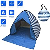FLYTON Pop Up Beach Tent Shade Sun Shelter UV Protection Canopy Cabana 2-3 Person for Adults Baby Kids Outdoor Activities Camping Fishing Hiking Picnic Touring (Dark Blue Stripes)