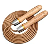 ZLLJH Skipping Fast Speed Gym Training Sports Exercise 3.0 Meters Jump Rope with Wood Handle and Leather Rope