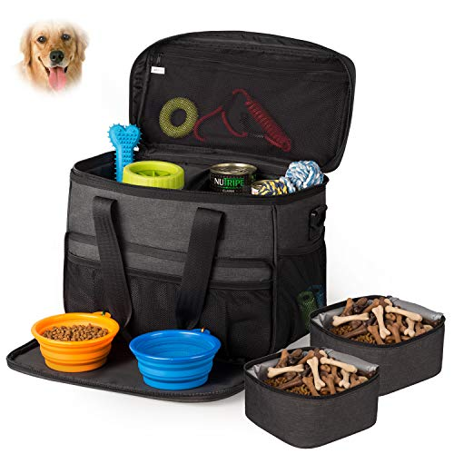 Hilike Pet Travel Bag for Dog&Cat -Weekend Tote Organizer Bag for Dogs Travel -Incudes1 Dog Tote Bag,2 Dog Food Carriers Bag,2 Pet Silicone Collapsible Bowls.(Black) 1
