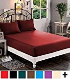 Elegant Comfort  Premium Hotel 1-Piece, Luxury & Softest 1500 Thread Count Egyptian Quality Bedding Fitted Sheet Deep Pocket up to 16inch, Wrinkle and Fade Resistant, California King, Burgundy