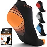 Compression Running Socks Men & Women - Best Low Cut No Show Athletic Socks for Stamina Circulation & Recovery - Durable Ankle Socks for Runners, Plantar Fasciitis & Cycling - 2 PAIRS ORNG BLK S/M