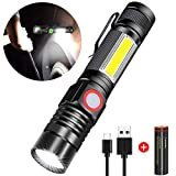 Rechargeable Flashlight, Spriak Magnetic Flashlights with Clip (Included Battery), Side Work Light, Bright, Zoomable Pocket EDC Flashlight for Camping, Hiking, Home Power Outage, 1 Pack