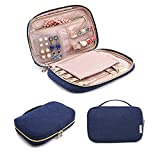 BAGSMART Travel Jewelry Storage Cases Jewelry Organizer Bag for Necklace, Earrings, Rings, Bracelet, Blue