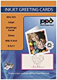 PPD Inkjet Glossy Printable Greeting Cards LTR 8.5 x 11' 64lbs. 240gsm 10.9mil x 20 Sheets (PPD051-20)