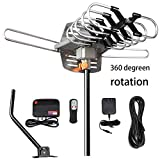 TV Antenna - Outdoor Amplified HDTV Antenna 150 Mile Motorized with Adjustable Antenna Mount Pole for 2 TVs Support - UHF/VHF 4K 1080P Channels Wireless Remote Control - 33FT Coax Cable