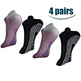 H-Brotaco Non Slip Skid Socks with Grips for Yoga,Barre Pilates,PiYo,Men and Women,2Pack Black and 2Pack Gray