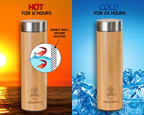 Bamboo Tea Tumbler with Infuser- 17oz Stainless Steel Thermos & Strainer, Mug for Hot/Cold Brew Coffee, Vacuum Insulated Bottle, Mesh filter for loose leaf, Fruit Infused Water Flask