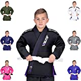Elite Sports IBJJF Ultra Light BJJ Brazilian Jiu Jitsu Gi for Kids w/Preshrunk Fabric & Free Belt (Black, C000)
