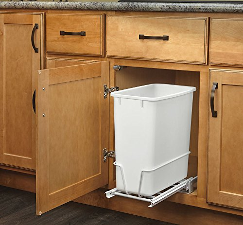Rev-A-Shelf RV-814PB - Single 20 Qt. Pull-Out White Waste Container with Adjustable Frame