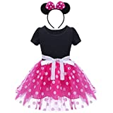 Baby Girls Polka Dots Tulle Spliced Ballet Dress with Bowknot Headband Birthday Party Princess Tutu Dress Hot Pink 5 Years