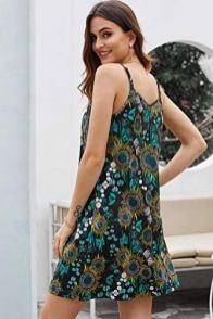 V Neck Sleeveless Casual Mini Dress