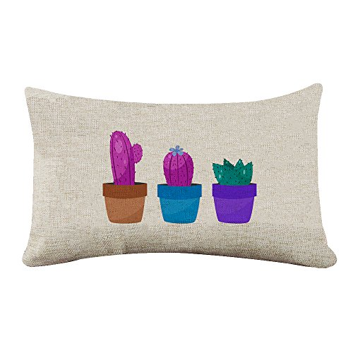 Yilooom Cotton Canvas Rectangle Pillowcase Cover Watercolor Cactus Cacti Pattern Lumbar Pillow Covers Cases 14x24 Inches