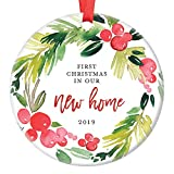 New Home Christmas Ornament 2019 First Year In Our New House, First Home Housewarming Apartment Condo RE Gifts Xmas Present Idea Ceramic Keepsake 3' Flat Circle Porcelain with Red Ribbon & Free Box