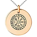 Tioneer Rose Gold Plated Stainless Steel Icelandic Vegvisir Viking Rune Symbol Small Medallion Circle Charm Pendant Necklace